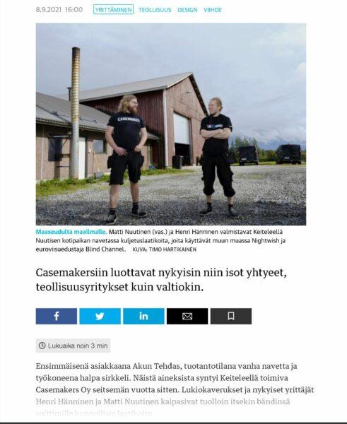Casemakers Kauppalehdessä 8.9.2021