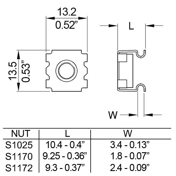 Korimutteri M6 tekninen kuva